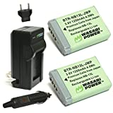 Wasabi Power Battery (2-Pack) and Charger for Canon NB-13L