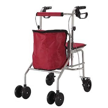 QIANGDA-Carros Carrito Compra Plegable Scooter con Asiento para Personas Mayores Freno Automático Bolsillo De Gran Capacidad, 2 Colores (Color : Gray): ...