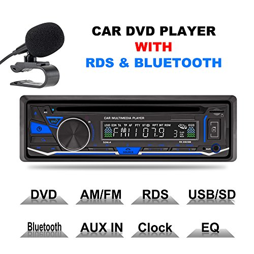 LSLYA(TM) 1 DIN 12V Car Stereo DVD/CD/Bluetooth Player Radio MP3/USB /SD/TF/AUX/FM/AM/RDS support with remote (Car Din 1 Dvd Player)