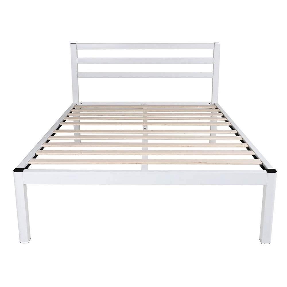 Ecos Living 14 Inch Rustic Metal and Wood Platform Bed Frame Natural Finish No Box Spring, Queen