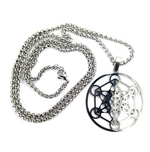 Ann Claridge Metatron's Cube Necklace, Pure 304 Stainless Steel No-Tarnish, 1.5