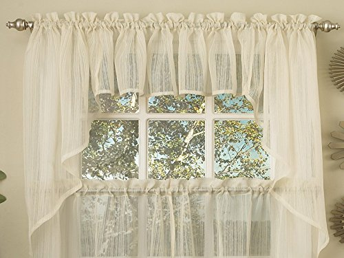 - Sweet Home Collection Harmony Micro Stripe Semi Sheer Kitchen Curtains Swag Pair, Ivory