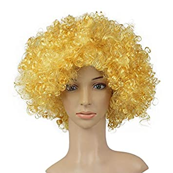 Afro Party Circus Adult Yellow Clown Wig Fancy Dress Accessory -Carnival