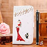 Locaa(TM) For Blackberry Z10 BlackberryZ10 3D Bling Case + Touch stylus + Anti-dust ear plug Deluxe Luxury Crystal Pearl Diamond Rhinestone eye-catching Beautiful Leather Retro Support bumper Cover Card Holder Wallet Cases -[General series] girl in red dress
