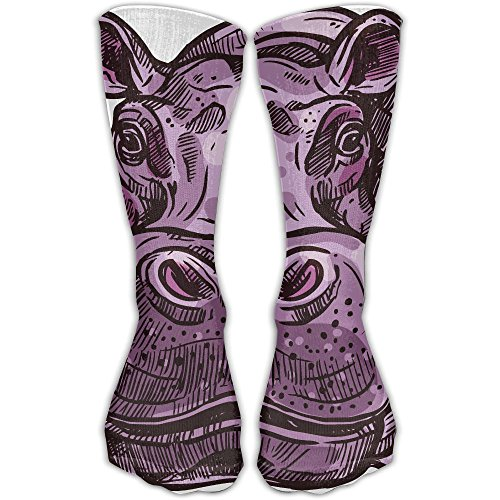 (Pink Hippopotamus Compression Socks Sports Stockings Long Socks Football Socks)