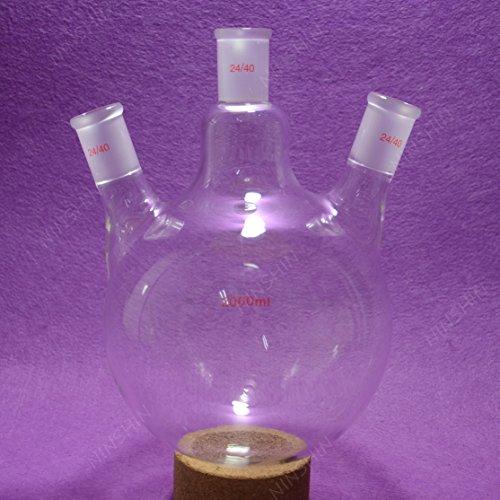 NANSHIN Glassware,Round Bottom Flask,2000ML,24/40,Three Neck,3 neck,2L,Lab Flask 24/40