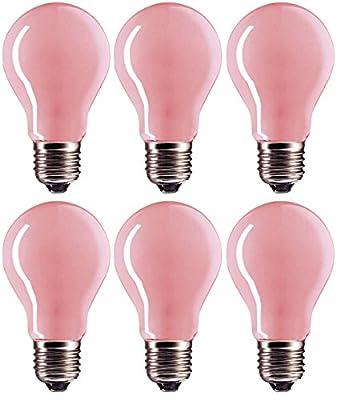 (Pack Of 6) 60 Watt A19 Soft Pink Incandescent Medium Base Light Bulb