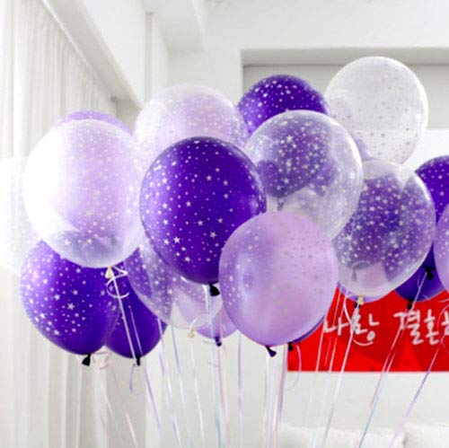 Neo LOONS Stars Around Latex Balloons, 12 inch Assorted Color Metallic Premium Latex Balloons for Birthdays Weddings Receptions Baby Showers Decorations, 30 Pcs Clear & Light Lavender & Purple