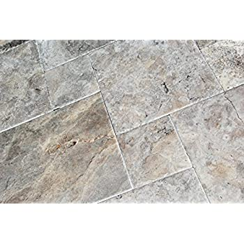 Silver Travertine Versailles Ashlar Pattern Tiles Unfilled