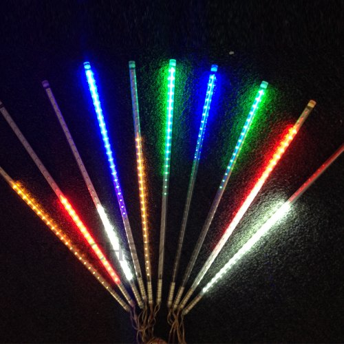 Set of 10, RGB 12V LED Meteor Shower Lights - Double Sided 30cm(11.8'')/36LEDs for Wedding Party Christmas Holiday Garden Decoration - 5 Colors Changing - Waterproof MSL-03