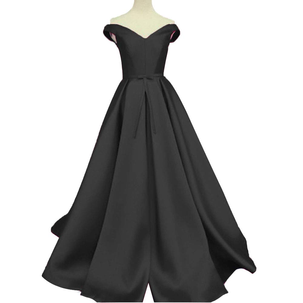 Black Promworld Women's Off the Shoulder Evening Dress Satin Lace Up A Line Prom Formal Dress