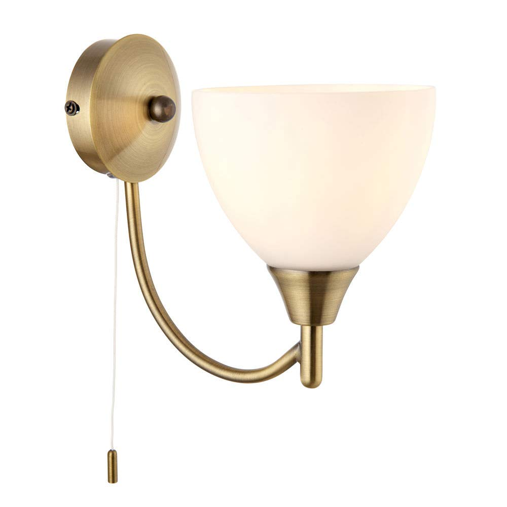 Antique Brass Single E14 Dimmable Pull Cord Switch Wall Light Uplighter Betta Lighting