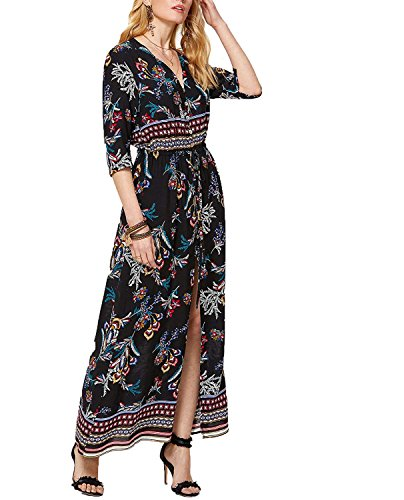 Womens Multi Color Dress - Milumia Women's Button Up Split Floral Print Flowy Party Maxi Dress Multicolor-4 X-Large