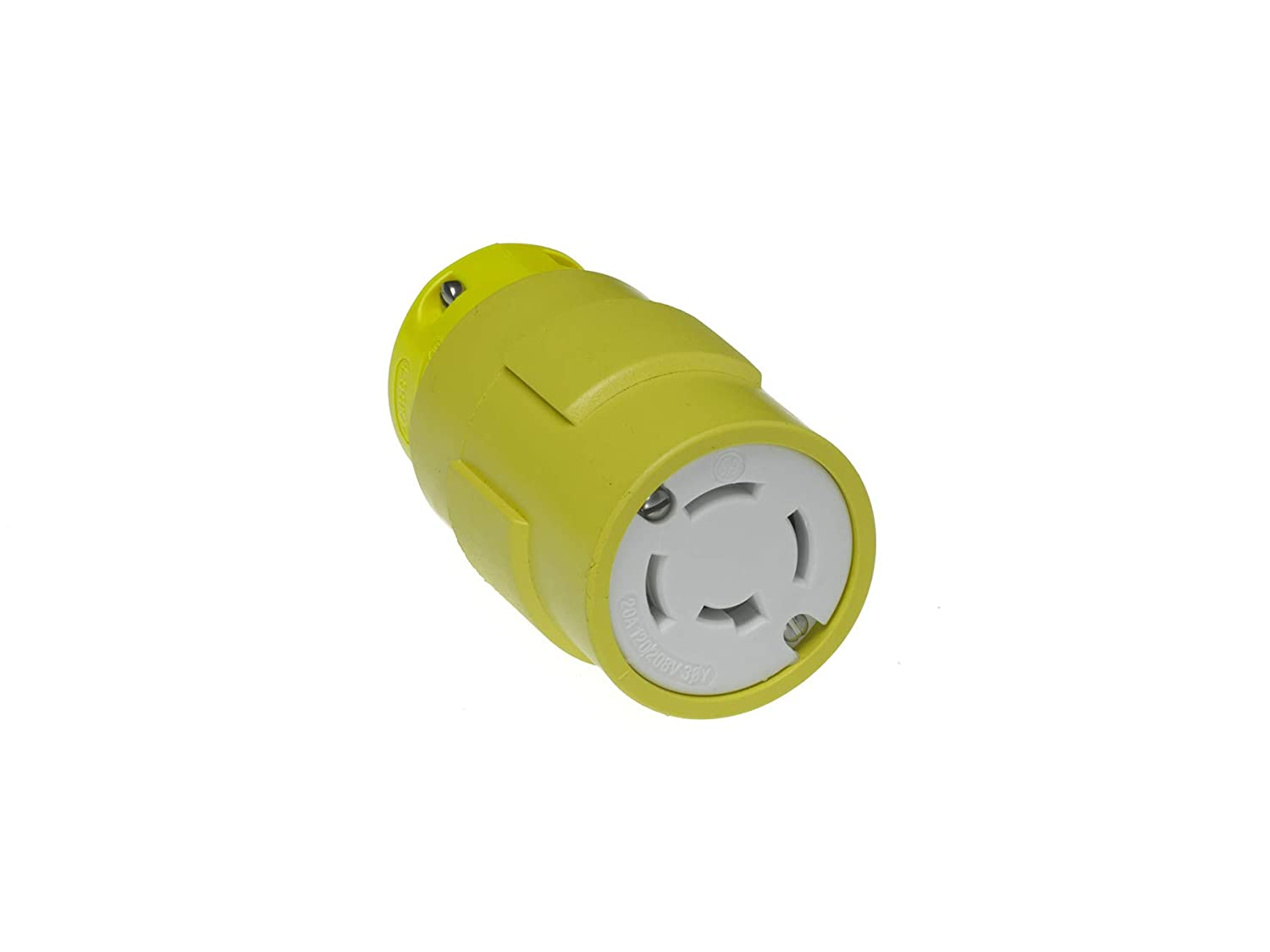 3 Wires Rubber 3 Poles Yellow 20A Current Grounding Tab Woodhead 2708G Super-Safeway Connector Industrial Duty 125//250V Voltage Locking Blade
