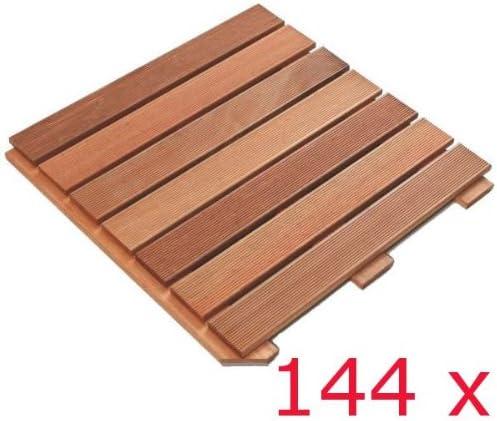 144 STÜCK PREMIUM HARTHOLZ HOLZFLIESE BANGKIRAI HOLZ  à 50 x 50 cm = 36 m²