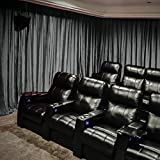 Velvet Blackout Lined Home Movie Theater Curtain Drapes Panel, Pinch Pleated 200W x 96''L (1 Panel) For Stage Event Auditorium, NATURAL GREY