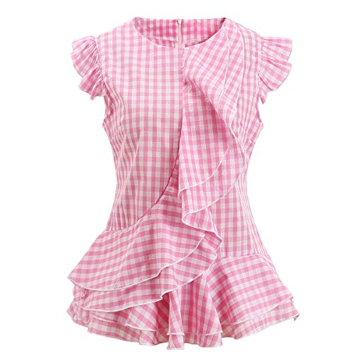 AOMEI Women Sleeveless Pink Plaid Blouses Ruffles Vintage Gingham Peplum Top Shirts ()