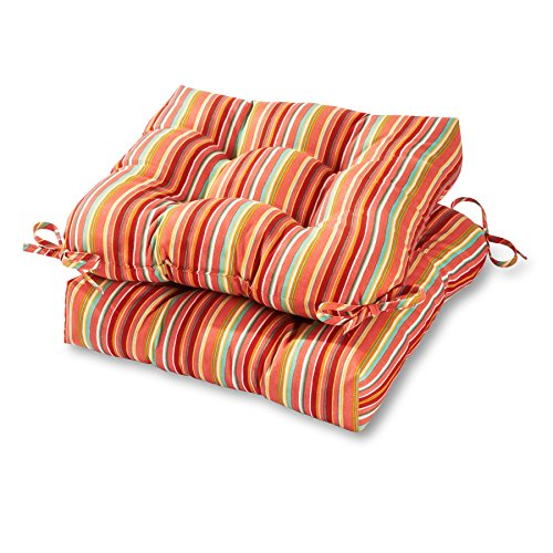 Greendale Home Fashions 20-inch Outdoor Chair Cushion in Coastal Stripe (set of 2), Watermelon ()