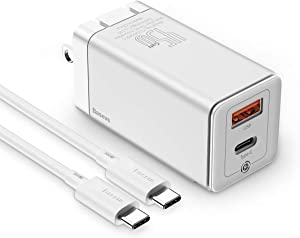 USB C Charger, Baseus 45W PD Fast Charging Wall Charger[GaN Tech], 2-Port QC PD 3.0 Power Adapter, Type C Charging Block for Samsung S20 Ultra, S20+, Note 10+,USB-C Laptops,iPhone 11,Pixel and More