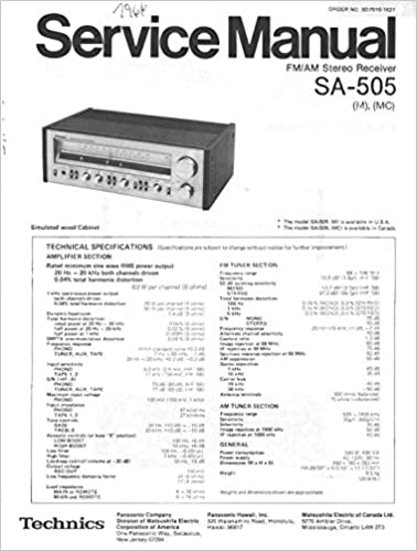 PANASONIC & TECHNICS SA505 SA-505 SERVICE MANUAL: SERVICE MANUAL FOR