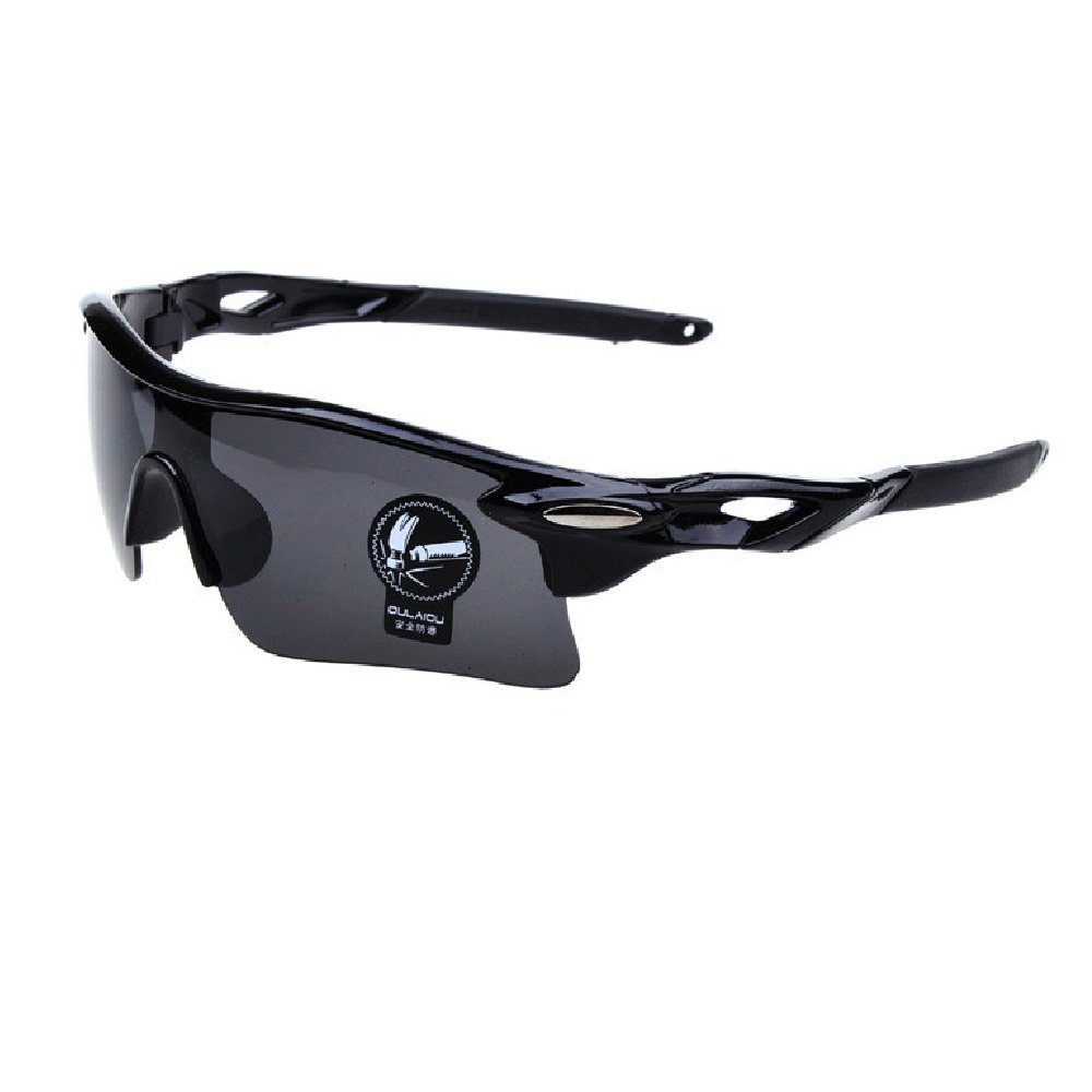 Sports Sunglasses Goggle Polarized lens UV cut UV 400 Lens interchangeable Lightweight Unisex L black quan gray