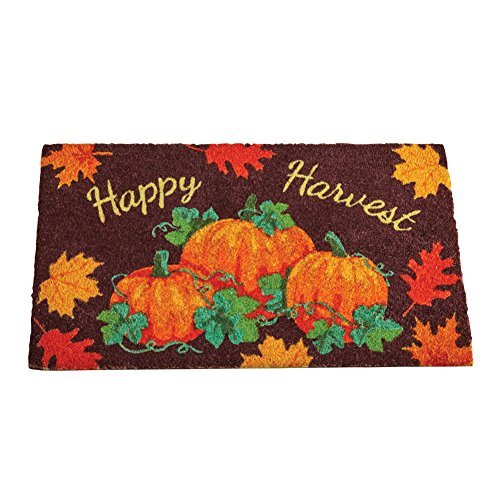 Collections Etc Happy Harvest Pumpkin Welcome Mat with Fall Leaves for Front or Back Door, Skid-Resistant, Outdoor (Fall Leaves Door Mat)