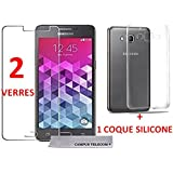 2 Verres Trempé Incassable + 1 Coque Gel Silicone Offert Samsung Galaxy Grand Prime / Grand Prime Value Edition G530 G531 by Campus Telecom®