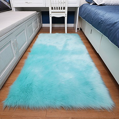 Exquisite Bedroom - Exquisite home Soft Faux Fur Rug Fluffy Rugs Bedside Rugs Area Rugs for Bedroom Faux Sheepskin Rugs for Floor Sofa Kids Rug Chair Cover Seat Cushion for Couch (Light Blue 3ftX5ft Sofa mat)