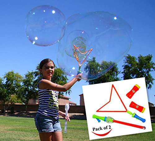 JOYIN 2 Pack Big Bubble Wand Making HUGE Bubbles with Giant Bubble Solution for Summer Toy Party Favor, Outdoor Activity Game, Birthday Gift, Easter Basket Stuffers