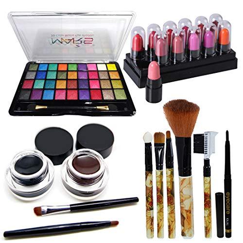 Mars 32 Color Eyeshadow With Eyeliner Gel & Makeup Brush Lipstick Set of 5 GCI805