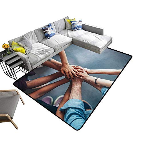 alsohome Contemporary Indoor Area Rugs top Young peoplae putt Theirs Together. Friends Stack Carpet for Children Home Decorate 5' X 8'