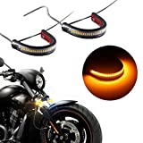 #6: Motorcycle Fork Amber LED Turn Signal Strip Lights Kit Super Bright for Harley Davidson Front Rear Turning Indicator Lights Universal Victory Motorbike Lamps Waterproof and Durable (2Pcs, 39mm-70mm)