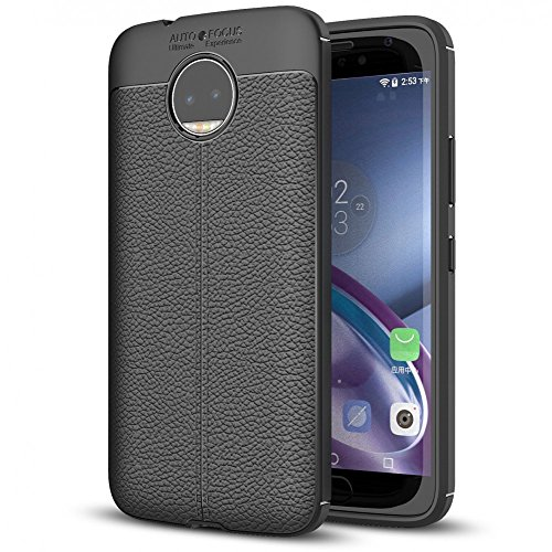 Motorola Moto G5S Plus Leather Look Silicone Case by NALIA, Ultra-Thin Protective Phone Cover Rubber-Case Gel Soft Skin, Shockproof Slim Back Bumper Protector Back-Case Shell for Moto-G5S+ - Black