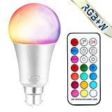 iLC Colour Changing Light Bulb Dimmable 10W B22 Bayonet RGBW LED Light Bulbs [2nd Generation] Coloured Lights, Mood Light RGB White - Dual Memory - 12 Color Choices - Remote Controller Included for Home/Decoration/Bar/Party/KTV Mood Ambiance