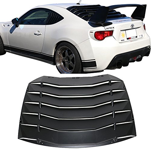 Window Louver Fits 2013-2018 Scion FR-S Subaru BRZ | Black Rain Sun Guard Wind Deflector Visors by IKON MOTORSPORTS | 2014 2015 2016 2017