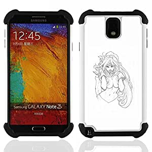 - sketch sexy girl woman white blue babe/ H??brido 3in1 Deluxe Impreso duro Soft Alto Impacto caja de la armadura Defender - SHIMIN CAO - For Samsung Galaxy Note3 N9000 N9008V N9009
