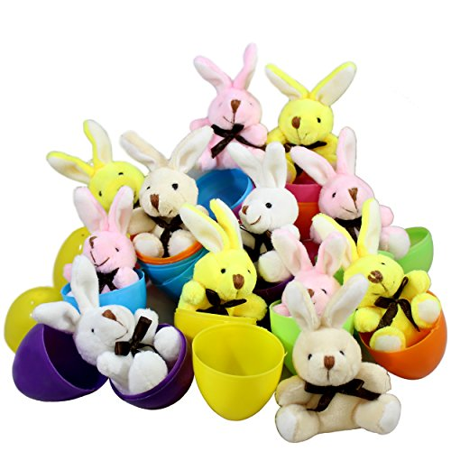 12 Toy Filled Easter Eggs With Miniature Stuffed Bunnies In Pastel Colors - Ready To Hide And Hunt - Save Time With Convenient, Reusable Filled Eggs - Perfect As Easter Basket Fillers or Party Favors