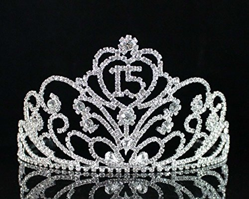 Janfashions Quinceanera Sweet 15 Fifteen Birthday Rhiestone Tiara Crown With Hair Combs T1813 Silver (Quinceanera Sweet)