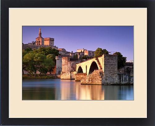 Framed Print of Sunrise over River Rhone with Pont St Benezet and Palais des Papes beyond by Fine Art Storehouse