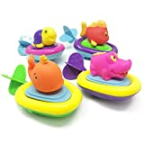 BOLEY 4-pack Pull String Animal Surfer Bath Toy Set for Toddler, Kids's Water Party and Bathtub Fun!