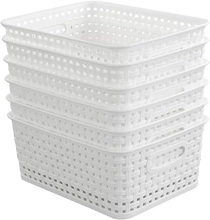 Hokky Cesta Almacenamiento Blanca Conjunto de 6, Cesta Trenzada Pequeña, Cestas de Plastico para Almacenar: Amazon.es: Hogar