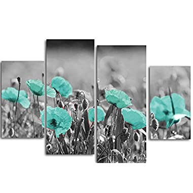 Poppies Field Landscape Floral Canvas Wall Art Print Teal Decor, Ready to Hang.