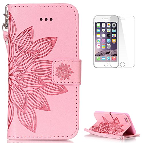 Iphone Se 5S 5 Leather Wallet Case  With Free Screen Protector  Kasehom Mandala Lotus Flower Embossed Folio Magnetic Flip Stand Pu Leather Protective Case Cover Skin Shell Pink  2