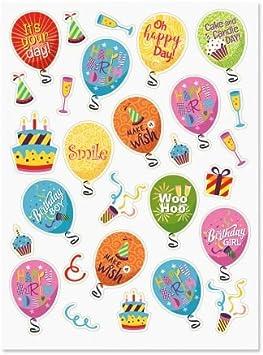 Amazon.com: Pegatinas de globos y palabras de cumpleaños ...