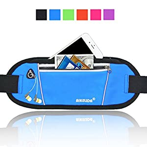 AIKELIDA Running Belt / Fanny Pack / Fitness Belt / Waist Pack for iPhone, Samsung Edge / Note / Galaxy - Men, Women during Sports Fitness, Running, Cycling, Hiking, Travel, Workout - Blue