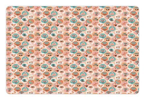 Lunarable Childish Pet Mat for Food and Water, Easter with Rabbit Folk Flower Village House Chicken Repetition, Rectangle Non-Slip Rubber Mat for Dogs and Cats, Peach Multicolor