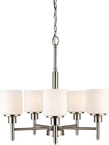 Design House 556639 Aubrey Transitional 5-Light Indoor Chandelier Dimmable Frosted Glass for Entryway Dining Room Foyer, Satin Nickel