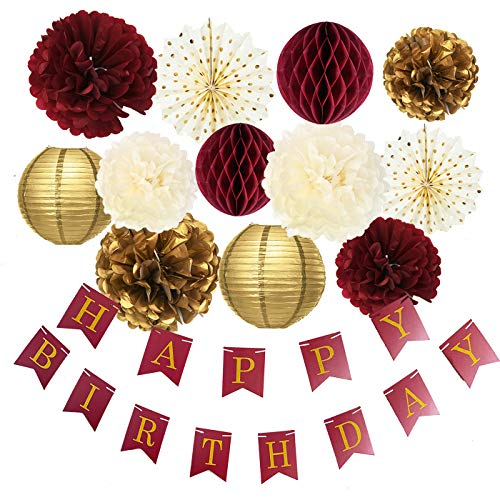 Burgundy Gold Birthday Party Decorations Burgundy Gold Happy Birthday Banner Tssue Pom Pom Honeycomb Balls Polka Dot Fans for Burgundy Fall Birthday Party Supplies/30th Birthday Decorations]()