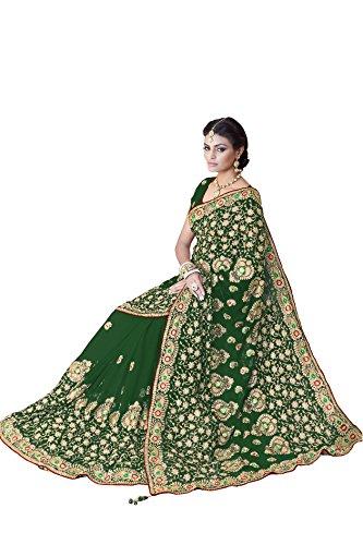 Women Faux Georgette Bridal Wedding Saree Mirchi Fashion Indian Sari(5241_Green)