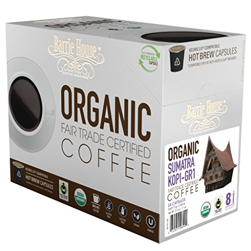 Barrie House Organic & Fair Trade Certified Sumatra Kopi Gr-1 Single Cup Capsules (96 Capsules)